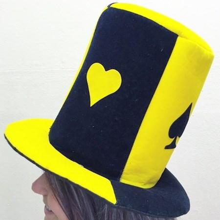 Cartola Poker Amarela e Preta Veludo