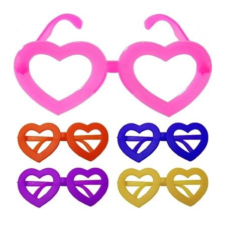 Óculos Coração colorido sem Lente 10 Unidades