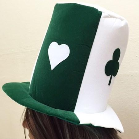 Cartola Poker Verde e Branca Veludo