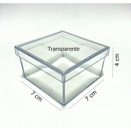 Caixinha Acrílica Transparente 7x7x4 Pacote c/10 Unidades