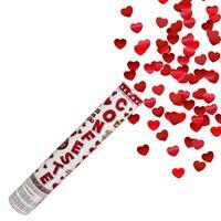 Lança Confetes Corações Vermelhos Metalizados 30cm