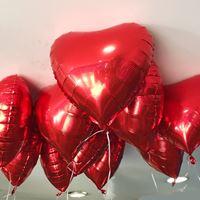 10 Balões de Gás Hélio Coração Vermelho Metalizado