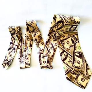 Gravata de Dólar de Cetim p/ Cortar