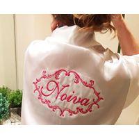 Robe da Noiva de Cetim branco c/ bordado pink