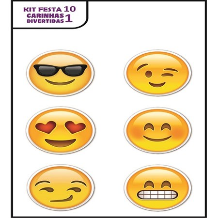 Plaquinhas Divertidas Emoji (Kit festa 10)