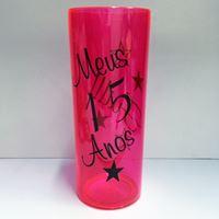 Copo Long Lembrança de festa de 15 Anos Rosa Pink