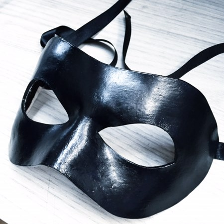 Máscara Preta Luxo de Couro para o Noivo