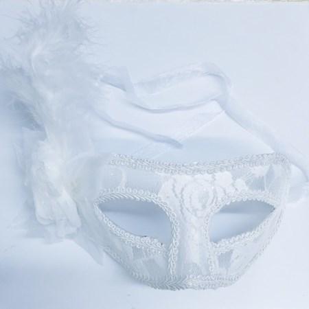 Máscara Noiva Luxo Branca de Renda