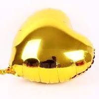 10 Balões de Gás Hélio Coração Dourado Metalizado