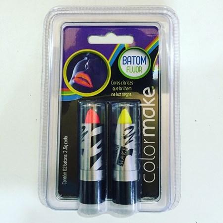 Kit Baton Neon Fluorescente c/2 Vermelho e Amarelo