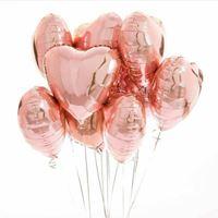 10 Unidades Balões De Coração Rose Gold Metalizado 45 Cm