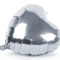 10 Balões de Gás Hélio Coração Cor Prata Metalizado