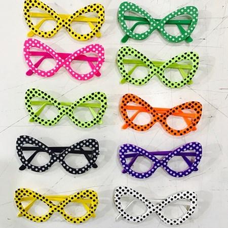 Oculos Gatinha Bolinhas Pintado c/10 Unidades