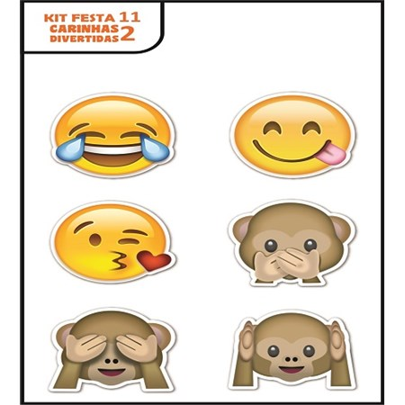 Plaquinhas Divertidas Emoji (Kit festa 11)